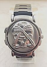 MEN'S SKULL FLIP-TOP SILVER TONE WATCH WHITE DIAL VERSALES RESIN BAND AWESOME!