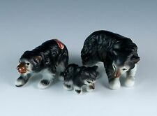 Vintage Bone China Set of 3 Miniature Black Bear Family Figurines Made In Japan
