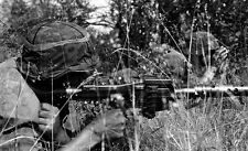 WWII B&W Photo German MG34 Waffen SS  WW2 /2064