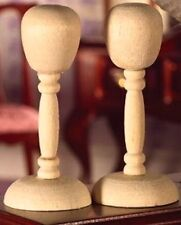 Two Wooden Hat / Wig Stands Dolls House Miniature Doll Accessory
