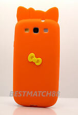 FOR SAMSUNG i9300 GALAXY S3 S III  ORANGE 3D BOW SOFT SILICONE CASE