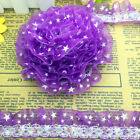 Hot 5 yards 2-Layer 30mm Purple Organza Lace Gathered Pleated Sequined Trim
