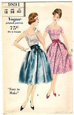 "Vintage 1950s Vogue Sewing Pattern Women's 2 PC DRESS 9891 Sz 18 Bust 38"" UNCUT"