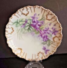 """Antique Limoges France 8"""" Plate/Dish Violets and Heavy Gold Artist Signed M.A.M."""
