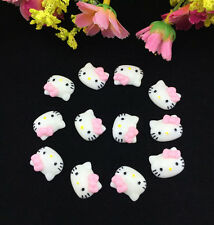 12pcsDIY Cute Resin HELLO KITTY pink Bow flatback Scrapbooking For phone /craft