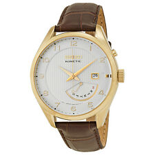 Seiko Kinetic White Dial Brown Leather Mens Watch SRN052