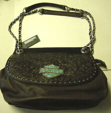 Harley-Davidson Purse, Brown Leather, Double Handle or Crossbody, Brand New