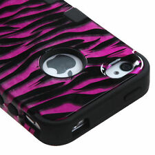 for iPhone 4 4S Pink Black Zebra Dual Layer Hybrid Hard & Soft Rubber Armor Case