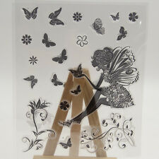 Butterfly Girl Transparent Clear Rubber DIY Stamp Sheet Cling Scrapbooking Seal