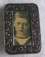 """MINIATURE PHOTO FRAME LAPEL PIN HOLDS 1 1/8  BY 5/8 INCH PHOTO, OUTSIDE 1.75X 1"""""""