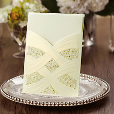 LASER CUT IVORY & GOLD PEARLISED WALLET WEDDING INVITATION HANNAH + ENV & INSERT
