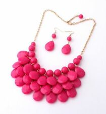 "NEW Pink Bubble Statement Necklace Earring SET Women's 21.5"" Adjust. 18"" US"