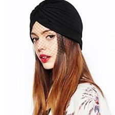 Women Ladies Bandana Indian Turban Hat Headwear With Mesh Veil Detail Cap Black