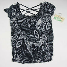 NWT BELLE DE JOUR JUNIORS M MEDIUM TOP BLACK WHITE PRINT NEW