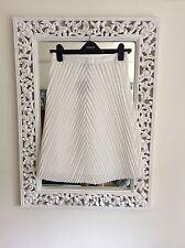 """Topshop White Chevron Pleated Midi Skirt, Size UK 10 Waist 28"""" New"""