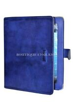 iPAD 2 3 & 4 BLUE Washed Lambskin Luxury Real Genuine Leather Cover Case Stand