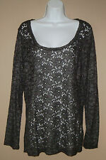 Womens Size Large Long Sleeve Silver Dark Gray Floral Lace Blouse Top Shirt