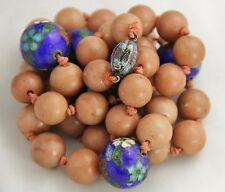 ANTIQUE ART DECO Chinese CLOISONNE ENAMEL GEMSTONE BEAD NECKLACE SILVER CLASP