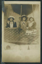 RPPC 1910s FLYING HIGH at FLORA CARNIVAL PHOTO GIRLS BIG HATS in HOT AIR BALLOON