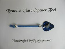 CHARM BRACELET CLASP OPENER TOOL BLUE WITH BUTTERFLY SNAKE CHARM