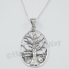 "CELTIC TREE OF LIFE Symbol Irish Pendant 18"" Chain Necklace 925 STERLING SILVER"