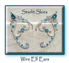 Aqua Wire Elf Ears, Sterling Silver Filled Pair with Swarovski Crystals