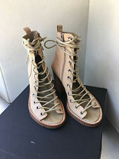 Ann Demeulemeester Nude Leather Chunky Heel Peep Toe Lace Up Booties Size 7.5
