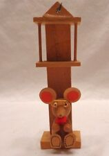 VINTAGE WOODEN GRANDFATHER CLOCK  MOUSE   ORNAMENT