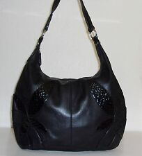 Carlos Falchi Chi Soft Black Leather & Croc / Croco Trim Hobo Purse Handbag Bag