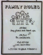 Family Rules Glass Plaque Metal Sign Wall Door Vintage Chic & Shabby House Love