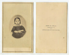 CDV STUDIO PORTRAIT CUTE LITTLE GIRL FROM CAMBRIDGE, NY, BY WELLS