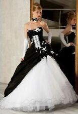 Black white Corset A-line Ball Gown Gothic Bridal Gowns Wedding Dress Custom Sz+