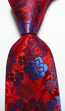 New Classic Floral Red Blue JACQUARD WOVEN 100% Silk Men's Tie Necktie