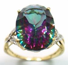 HUGE 10KT YELLOW GOLD OVAL CUT MYSTIC TOPAZ & DIAMOND RING   R1063
