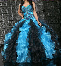 Blue /Black Leopard Promal Prom Ball Gown Pageant Wedding Quinceanera dress New