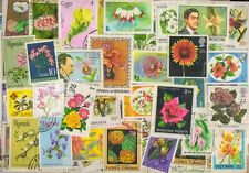FLOWERS on Stamps - 200 Different Large World Wide Mixed Thematic Used Stamps -