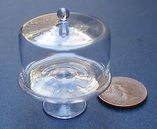 1:12 Scale Glass Cake Stand + Cover Dolls House Miniature Food Accessory G20L