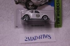 2014 Hot Wheels moc WHITE Volkswagen Beetle LOVE BUG hw workshop 191/250 VW 5spw