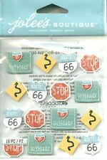 ROAD SIGNS Travel Stop Route Curve Interstate Highway Driving Jolee's Stickers