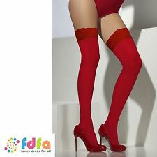 RED SHEER HOLD UPS STOCKINGS SILICONE LACE TOPS ladies womens accessory hosiery