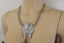 Women Silver Metal Chain Strand Fashion Necklace Jewelry Egyptian Pharaoh Charm