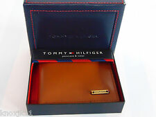 NEW Mens Tommy Hilfiger BiFold Leather BiFold WALLET Attached VALET Saddle Brown