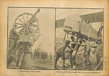 Artilleurs Batterie Anti Aérienne Belgique Torpille SPAD WWI 1918 ILLUSTRATION