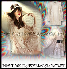 RIVER ISLAND CHELSEA GIRL CREAM LACE VINTAGE 60s KIMONO SLEEVE DRESS 8 10 12 +
