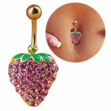 Belly Ring Navel Button CZ Gem Strawberry Barbell Bar Body Piercing UK Seller