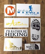 HIKING DECALS x7 vinyl STICKER car truck Hike adventure trekking mountain wood