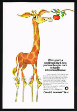 1970 Chase Manhattan Bank Giraffe On Stilts Vintage Print Ad