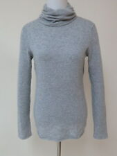 Aqua Cashmere Sweater Turtleneck Pullover Heather Gray Size Large Gently Worn