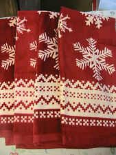 SNOWFLAKES on RED~ONE (1) whole QUALITY TERRY KITCHEN HAND, COTTAGE TOWEL