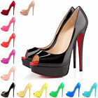 PEEP TOE PARTY STILETTO HIGH HEEL WOMENS LADIES PLATFORM COURT SHOES PUMPS UK2-9
